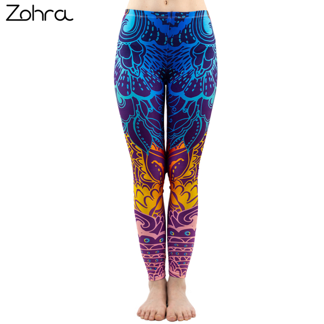 Zohra  Fashion Women Blue Printing Mandala Leggings Sexy Workout Elasticity Pants Fitness Stretch Slim Bottoms