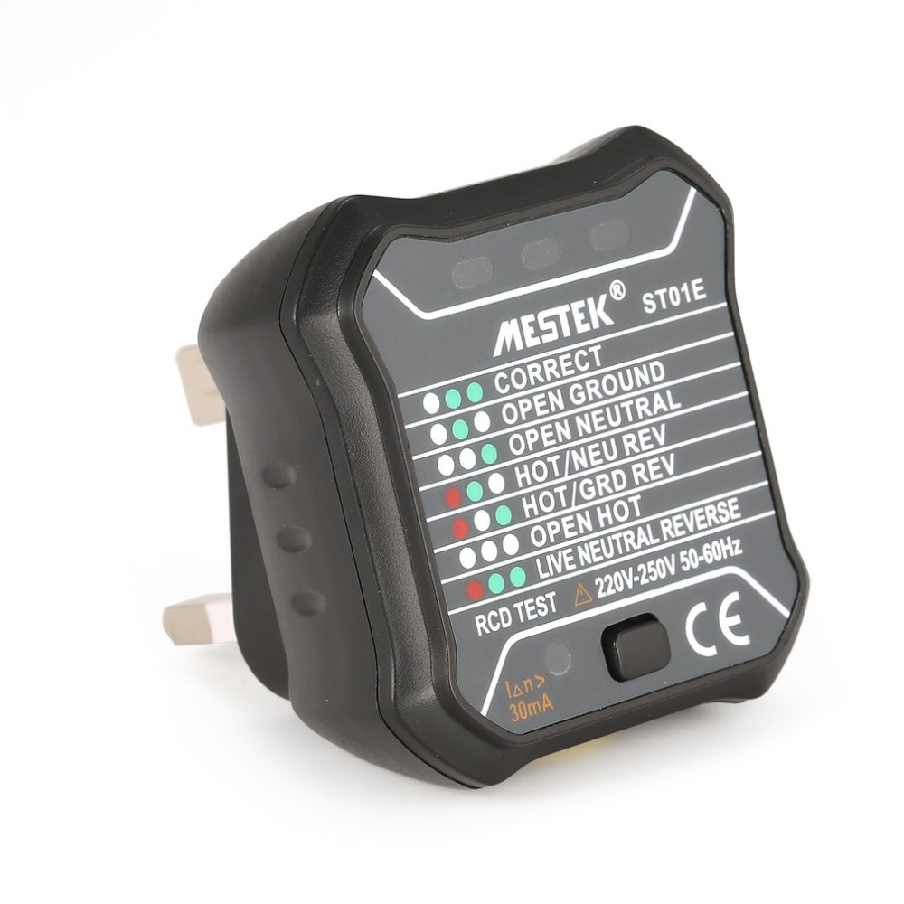MESTEK ST01E Socket Outlet Tester Circuit Polarity Voltage Detector Wall Plug Breaker Finder RCD Test 220V~250V UK Plug