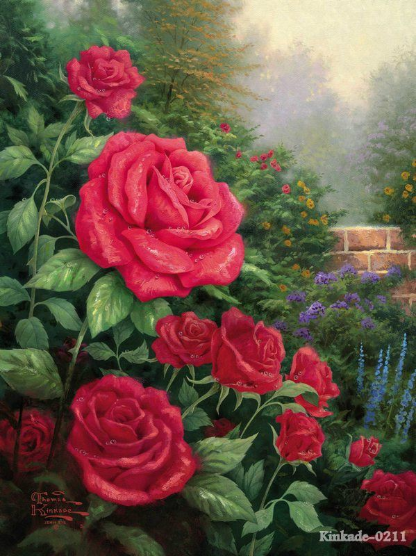 Thomas Kinkade prints original oil painting A perfect red