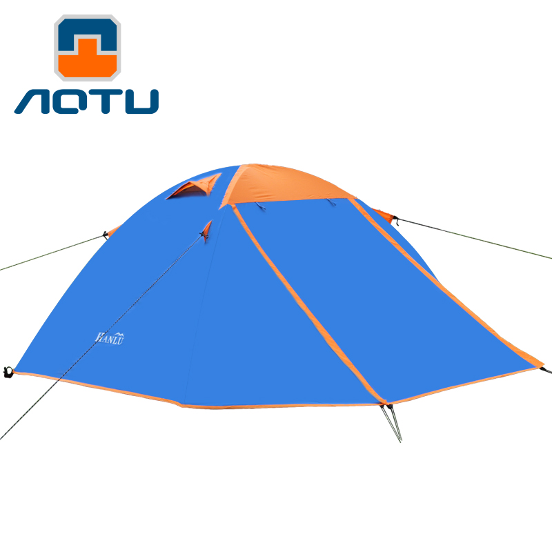 AOTU Double Layer Double Doors Aluminum Pole Rapidly Open Camping Tent Windproof Waterproof PU3000mm Hiking Fishing Outdoor Tent hot outdoor camping double layer 2 person aluminum rod tent waterproof windproof high strength camping tent