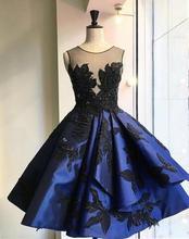 Royal Blue Kurze abendkleider 2016 Scoop sleeveless Sheer Top Kleid Backless Ballkleid abendkleid