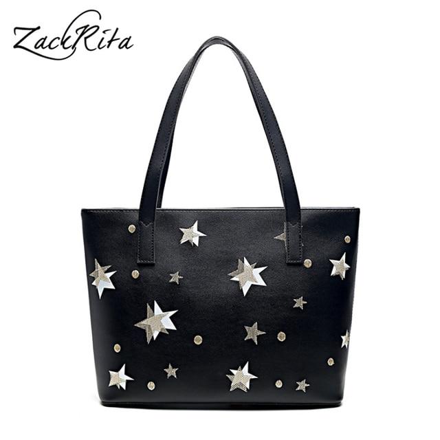 Zackrita Women Vintage Star Printed Pu Zipper Shoulder Bag Large Capacity Tote Beach Bags Female Casual