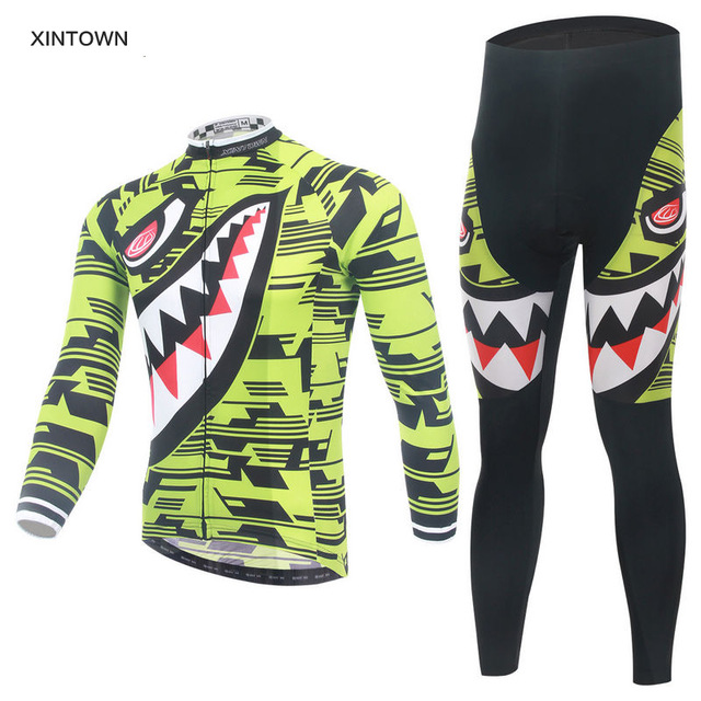 Autumn Shark Long Sleeve Cycling Jersey Set Breathable Bicycle Clothes Team Cycling Clothing Maillot Ciclismo MTB Bike Clothing free shipping spartacus men top sleeve cycling jersey polyester bike clothes black breathable cycling clothing size s to 6xl