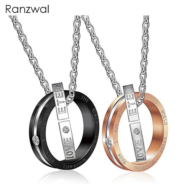87e2be53363a Ranzwal eterno Amor redondo colgante collares para hombres mujeres Acero  inoxidable pareja collares regalo del Día