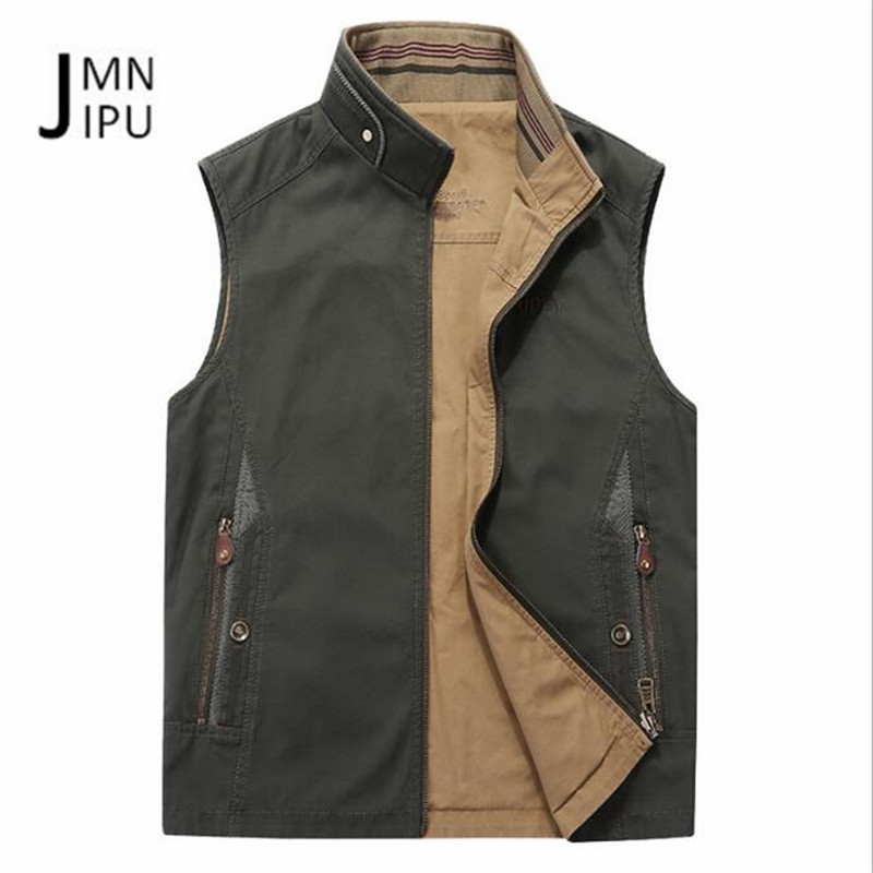 JI PU Thickness Cotton Material Stand Collar Sleeve Summer/autumn Off road motorcycle Outwear,double sided solid tooling vests