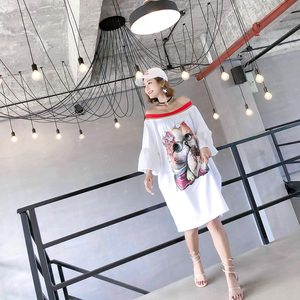 Image 4 - 2020 Summer casual slash neck dresses women sequined cartoon appliques flare sleeve chic dresses