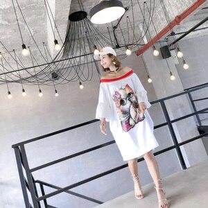 Image 4 - 2020 verão casual slash neck vestidos femininos lantejoulas dos desenhos animados apliques alargamento manga vestidos chiques
