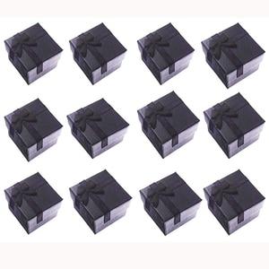 """Image 1 - ריבוע נייר קופסות מתנת תכשיטי 4x4x3 ס""""מ טבעת שחורה/תיבת עגיל תיבת הווה קטן עבור תצוגת אריזת תכשיטי עם הוספה לבנה"""