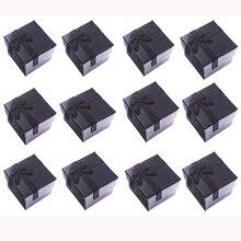 Boîtes cadeaux carrées en papier pour bagues/boucles doreilles noires, petite boîte cadeau pour présentoir demballage de bijoux, avec insertion blanche 4x4x3cm