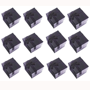 Image 1 - Boîtes cadeaux carrées en papier pour bagues/boucles doreilles noires, petite boîte cadeau pour présentoir demballage de bijoux, avec insertion blanche 4x4x3cm