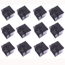 Paper Square Jewelry Gift Boxes 4x4x3cm Black Ring/Earring Box Small Present Box for Jewelry Packaging Display with White Insert