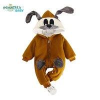 Newborn Baby Rompers Cartoon Dog 3D Ear Infant Jumpsuit Winter Warm Long Sleeves Children Clothing Boys