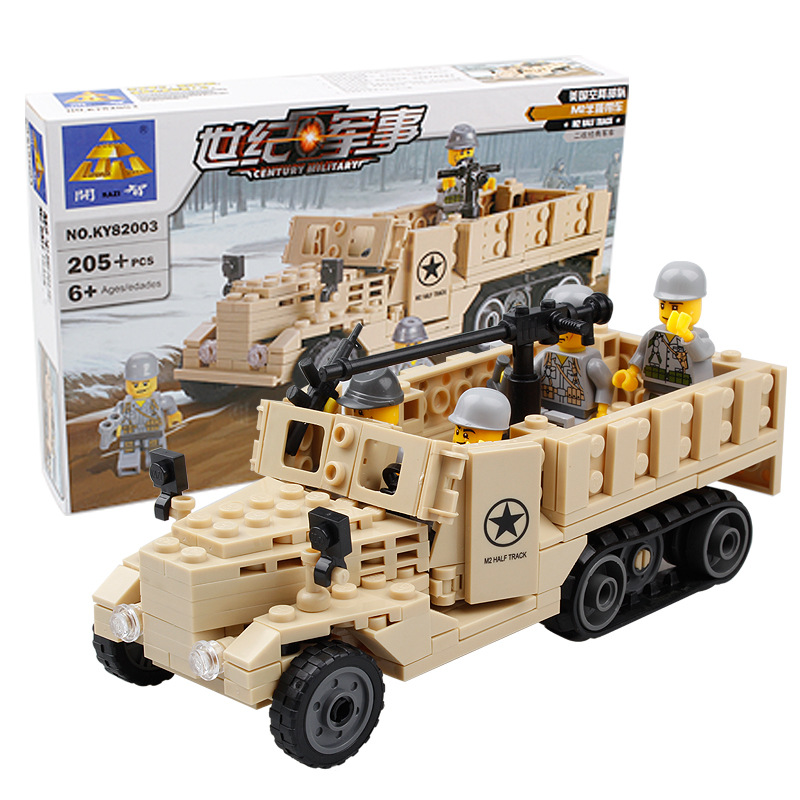 KAZI Military Building Blocks M2 Half Track Truck Army Car Airplane Fighter Model Bricks Intelligent Toys for Children kazi 228pcs military ship model building blocks kids toys imitation gun weapon equipment technic designer toys for kid