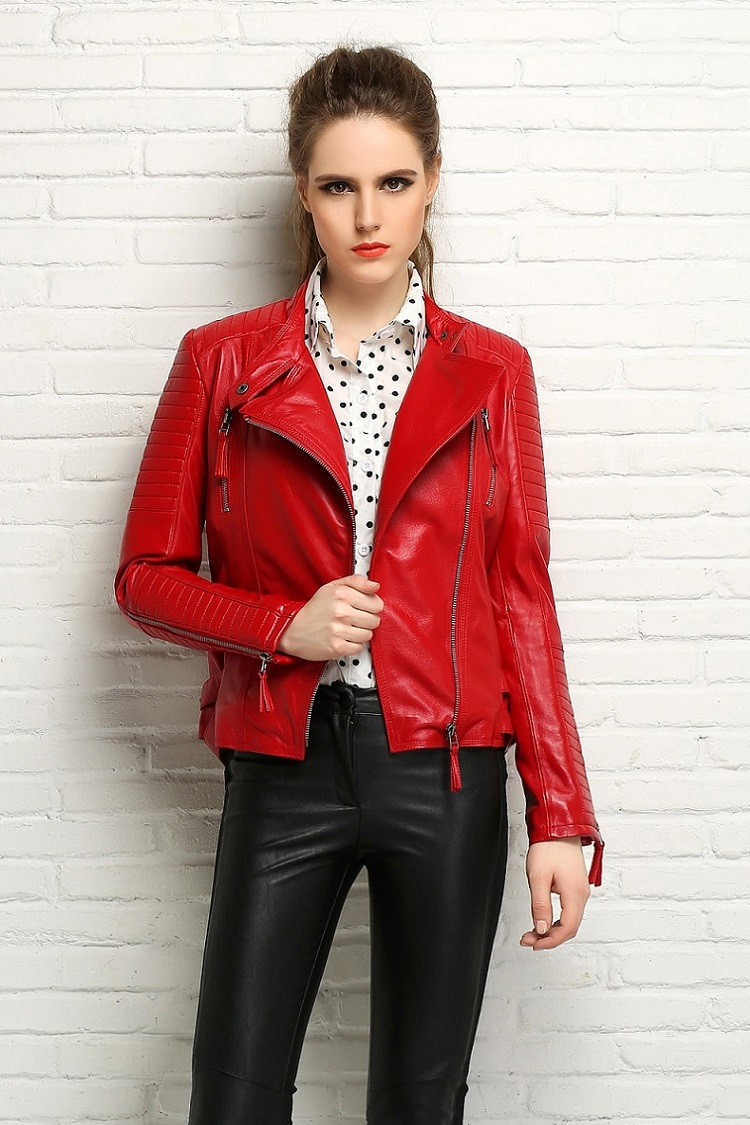 Factory Genuine Leather Jacket Women Real Sheep Skin Brand Slim ...