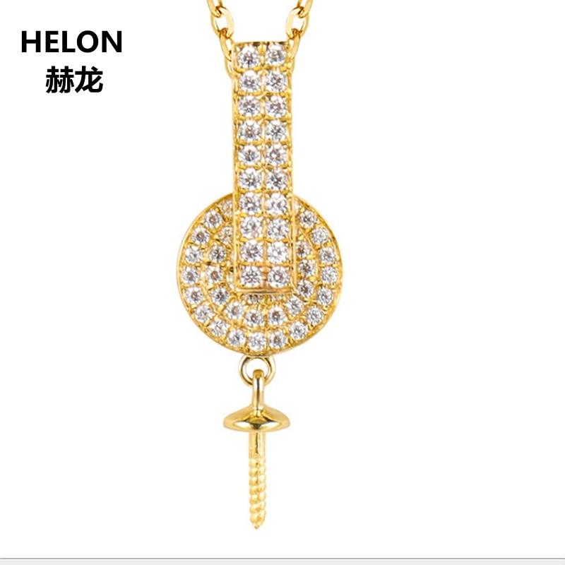 Solid 14k Yellow Gold 0.2ct Natural Diamonds Women Pendant 9 15mm Pearl Semi Mount Pendant Fine Jewelry Setting