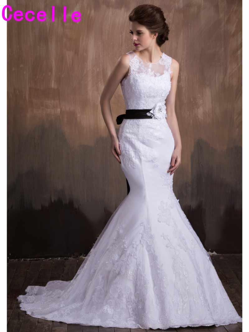e85c895d4 2019 Vestidos De Novia blanco y negro largo sirena boda Vestidos De dos  tonos sin mangas