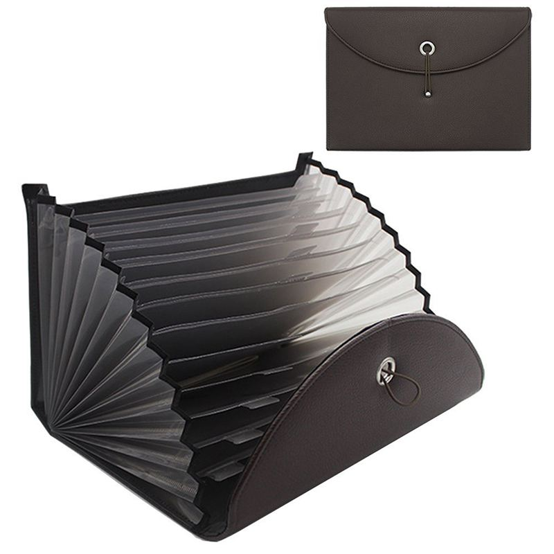 Expandable Portable Briefcase PU Leather Business File Organizer Bag A4 And Letter Size 13 Pockets