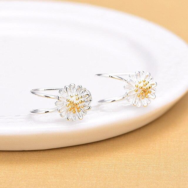 Серьги клипсы женские из серебра 925 пробы с цветком Маргаритки