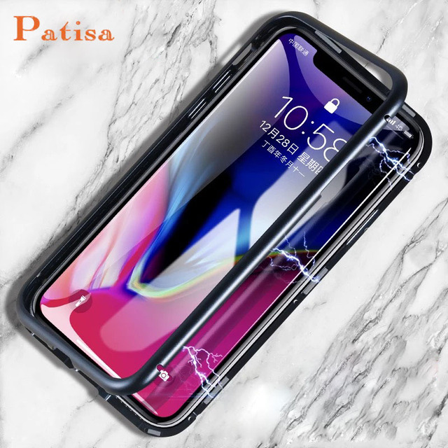 promo code 97742 0f1dd US $9.73 |Magneto Magnetic Adsorption metal case for iphone X iphone 7 8  case luxury tempered glass cover for iphone 8 plus 7 plus coque-in ...