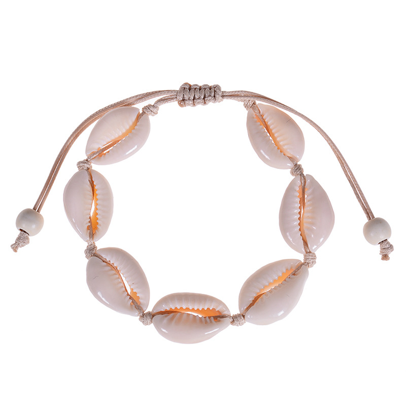 Hawaiian style hand-woven natural shell bracelet anklet personality simple sea beach wind pearl shell bracelet anklet