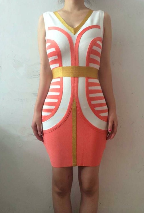 clearance 2015 sexy fashion women summer v neck white pink and orange color blocked jacquard bandage dress wholesale