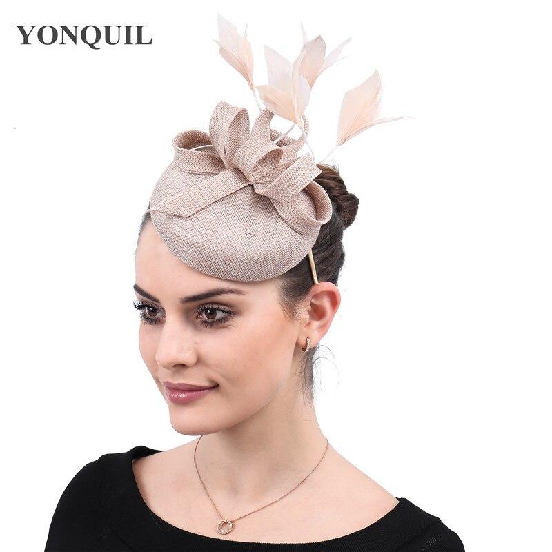 Новые женские шляпки с сеткой цвета хаки, модные женские шляпы с лентами для свадебной вечеринки, красивые аксессуары SYF570 - Цвет: Хаки