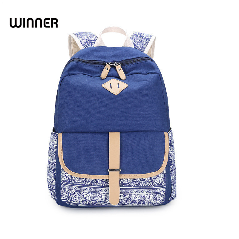 Winner Brand Casual Flower Bagpack Women Canvas Printing Backpack School Bag for Teenager Girls Hasp Rucksack