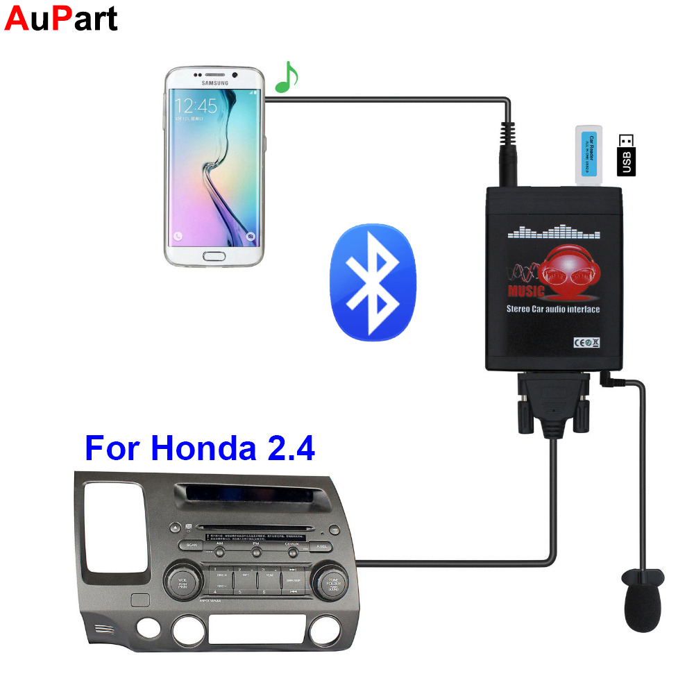 Car Radio Bluetooth USB AUX Adapter 3.5mm Interface CD Changer for Honda Accord Civic CR V Element Fit Jazz Odyssey for Acura
