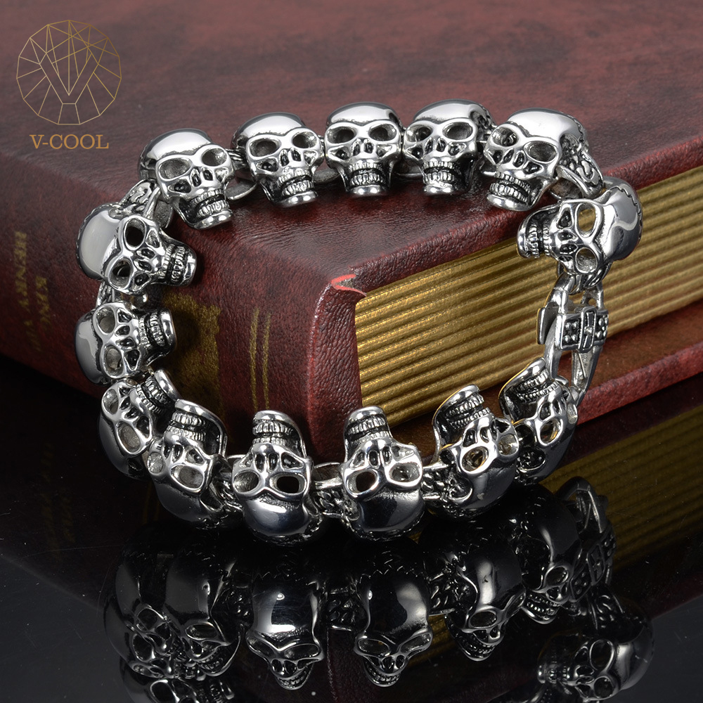 Free Shipping Stainless Steel cm Chunky Solid Skull Bracelets G Heavy Solid