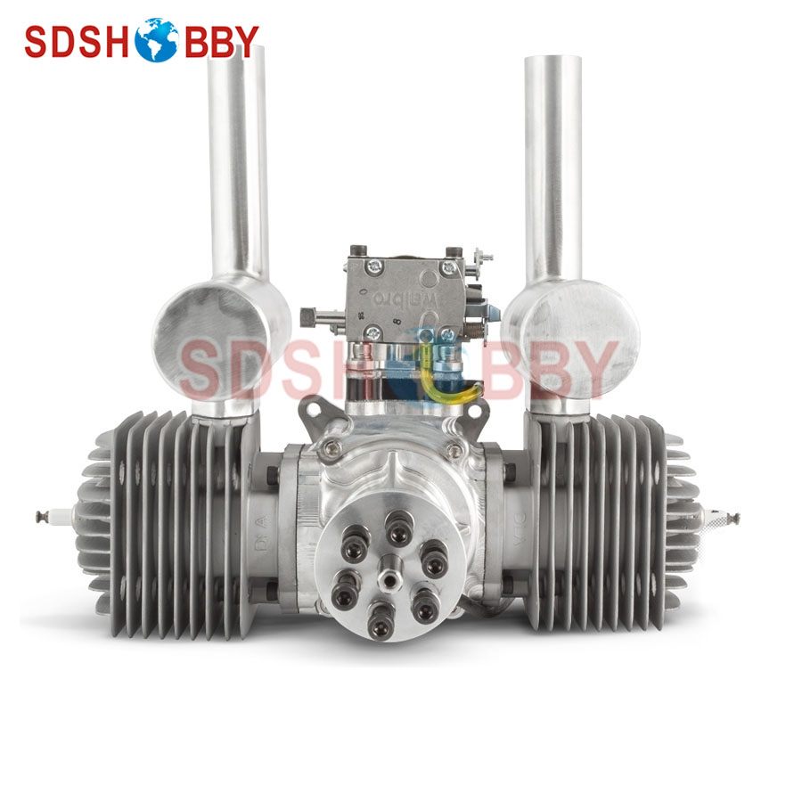 DLA180 CNC Processed Gasoline Engine/Petrol Engine 180CC for Gas Airplane with Double Cylinders dla232 cnc processed gasoline engine petrol engine 232cc for gas airplane with four cylinders