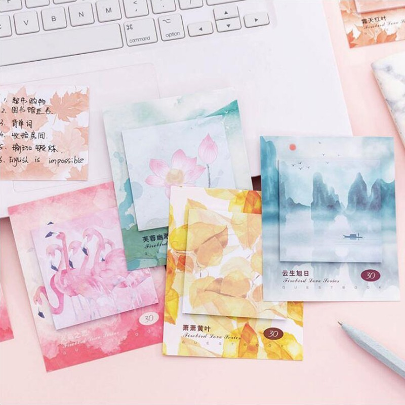 Colorful Animal Landscape Memo Pads Post Sticker Scrapbook Diary Planner Sticky Notes Office Stationery School Supplies 30Sheets