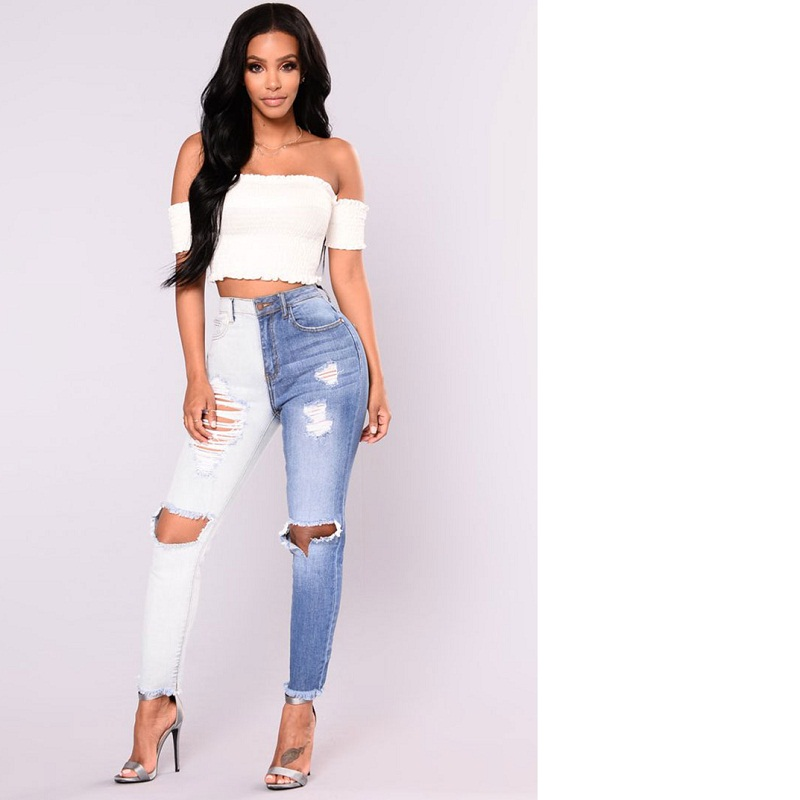 2018 New Fashion Sexy Women Streetwear Mid Waist Full Length Skinny Pencil Pants Elasticity Hole Blue White Jeans Female