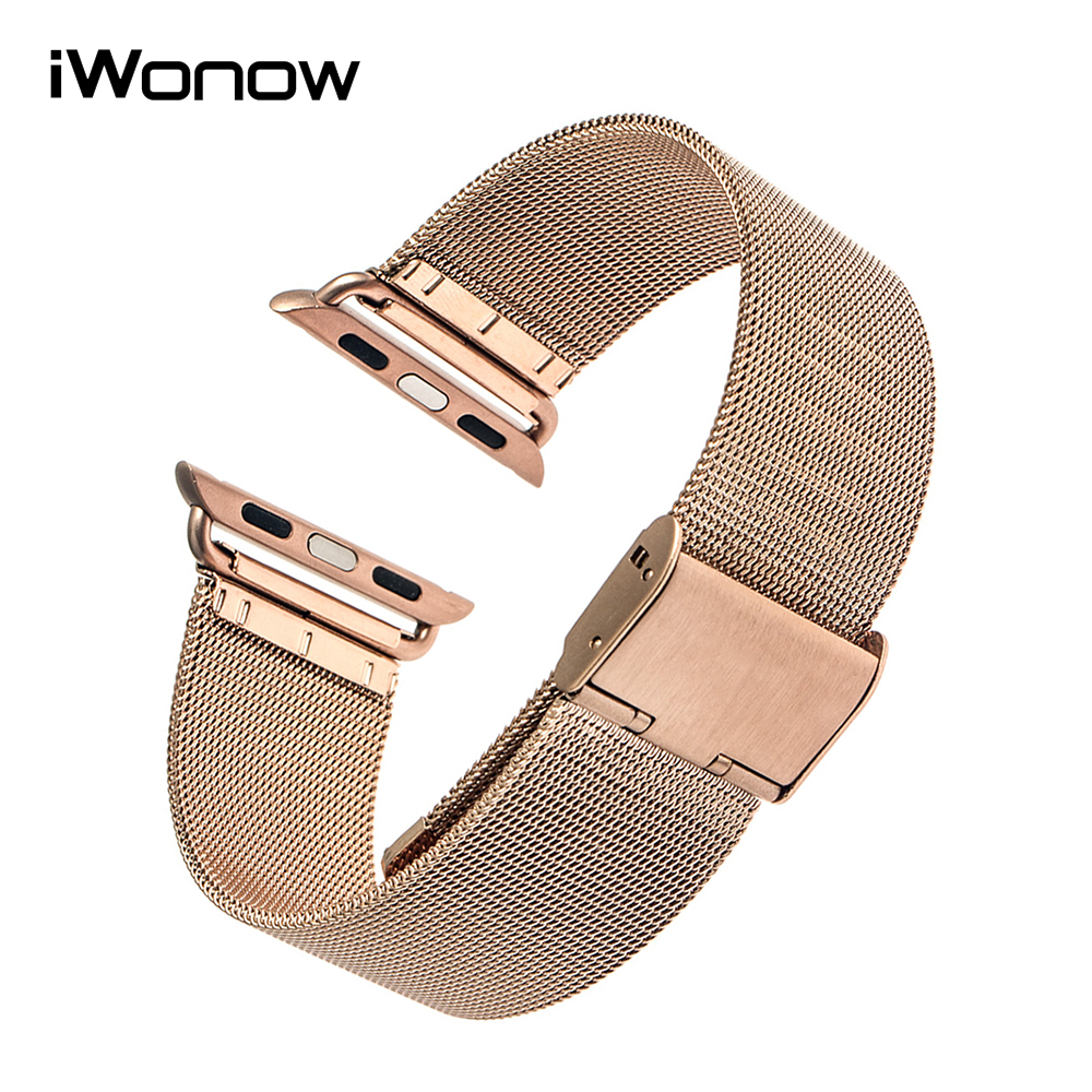 Stainless Steel Watchband for 38mm 42mm iWatch Apple Watch / Sport / Edittion Hook Buckle Band Wrist Strap Bracelet + Adapters 6 colors luxury genuine leather watchband for apple watch sport iwatch 38mm 42mm watch wrist strap bracelect replacement