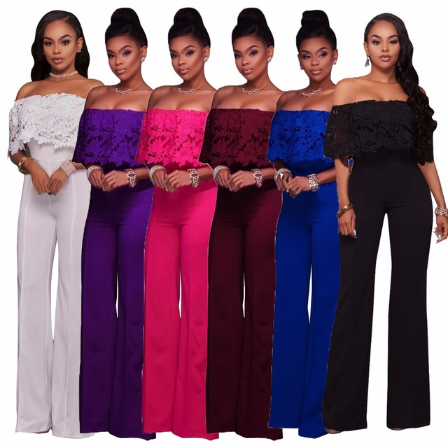 d772c713f48 Sexy tube jumpsuits for women 2019 Lace Summer rompers womens jumpsuit plus  size