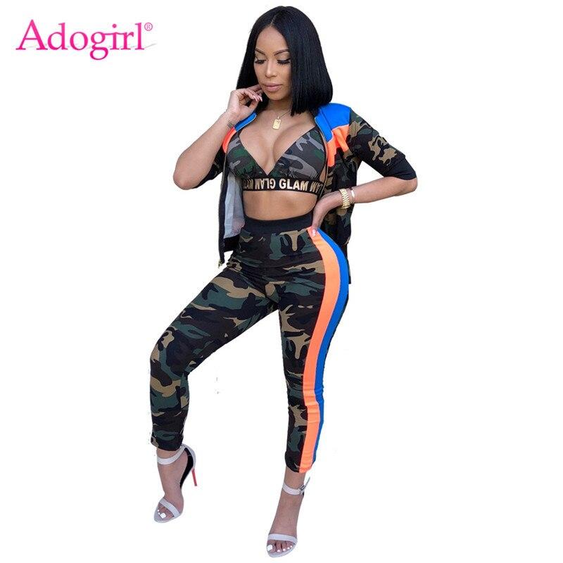Adogirl 3 Camo Stripe Imprimir Mulheres Tracksuits Conjunto Pedaço Sutiã Top Zíper Outerwear Jaqueta e Calças Lápis Equipamentos Desportivos Terno