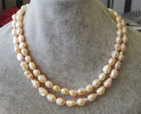 Handmade Natual Pearl Jewellery Pink Color AA 8 9MM Baroque Pearl Necklace 120cm Long Pearls Beautiful Lady's Gift