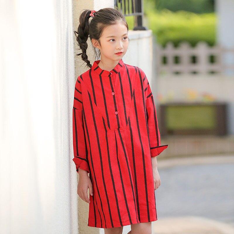 d86e624f22d 2018 модный детский красный полосатый осенние платья для ребенка Крупные  Девушки Хлопок Длинные рукава прямые повседневные