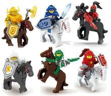 2017 NEW 6pcs\lot Knights Building Block Minifigures Clay Macy Lance Aaron Jestro Knights Figures Compatible Nexus Legoelieds