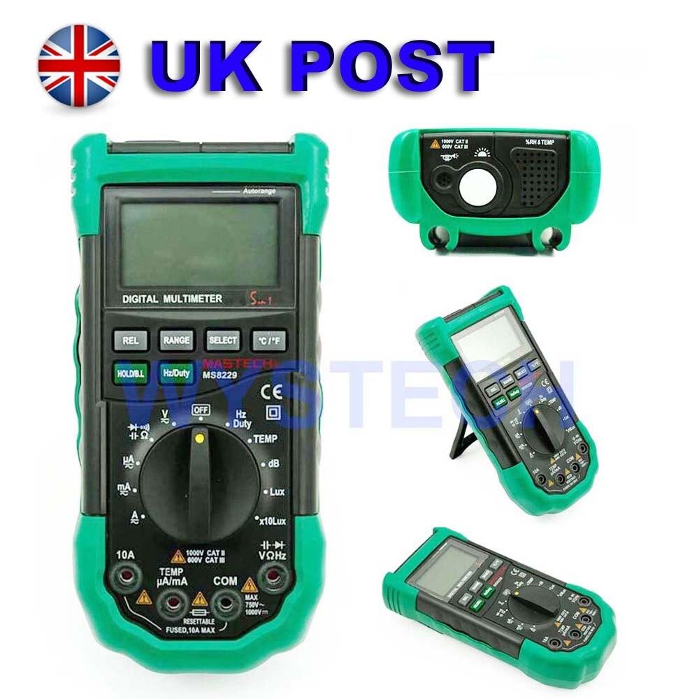 M042 MASTECH MS8229 5in1 Auto range Multimetro Digitale DMM Fonometro Termometro Tester del Tester di Umidità LUXMETRO SPEDIZIONE GRATUITA