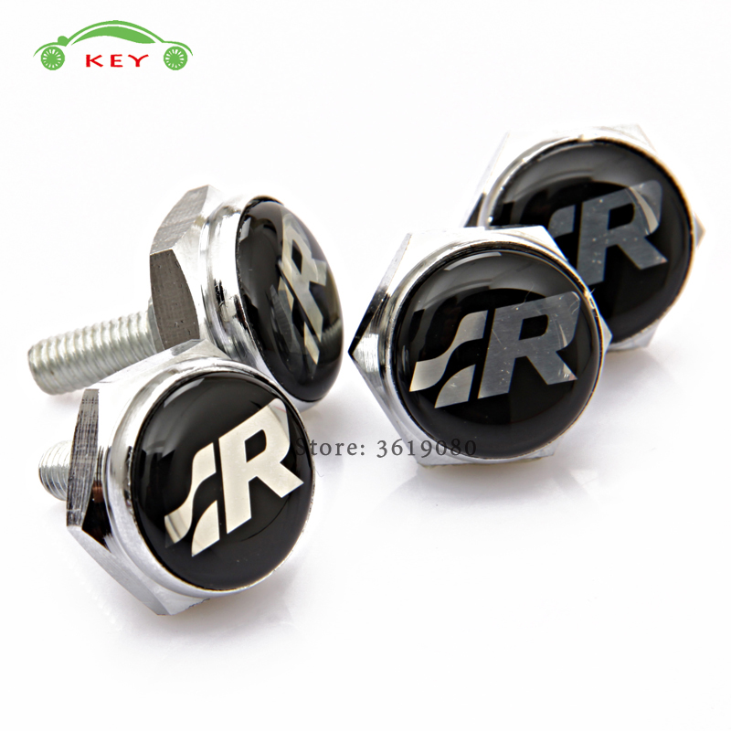 Car Styling License Plate Frame Screws for SR Logo Auto License Plate Bolts for VW Volkswagen Polo Golf Passat Jetta Lavida CC 2pcs led rear back car license plate light lamp for vw golf4 golf6 polo passat car super white bright 12v car styling