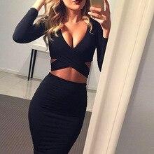 New year Gray Blue Black Long Sleeve Elastic Spring Summer Elegant midi Party Dress 2017 Sexy Pencil Club Bandage Bodycon Dress