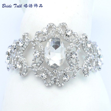 New Design Silver Tone Wedding Bracelet Chain W Clear Rhinestone Crystals for Bridal Jewelry Bracelets Free Shipping E6578B