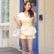 2019 Summer Yellow Casual Blouse and Mini Shorts Women Elegant Solid 2 Piece Set Plus Size Modis Streetwear Two