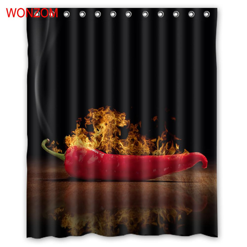 WONZOM Polyester Fabric Bread Shower Curtains with 12 Hooks For Bathroom Decor Modern 3D Pimiento Bath Waterproof Curtain