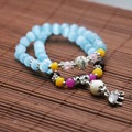 Fresh Tibet Silver Elephant Pendant Blue Cat eyes Opal Chalcedony beads Bracelet hand chain for women girls Natural Stone