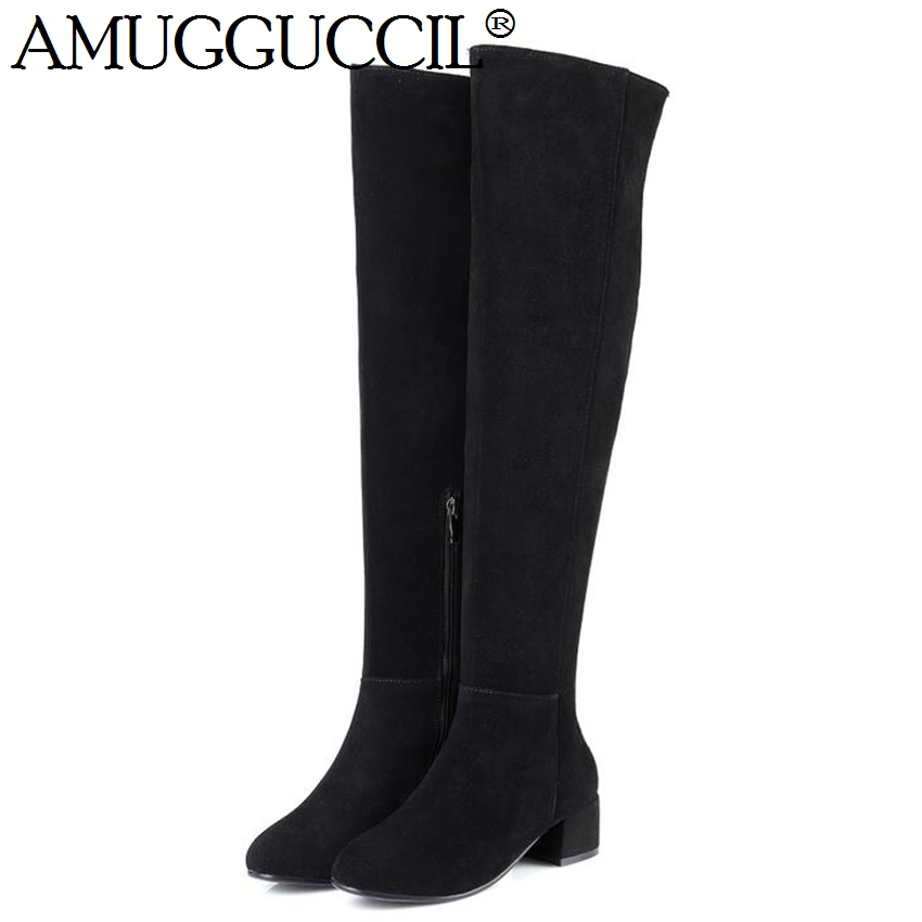 2017 New High Quality Plus Big Size 31-45 Cow Suede Black Brown Gray Zip Over The Knee Thigh High Autumn Winter Women Boot X1637 the new high quality imported green cowboy training cow matador thrilling backdrop of competitive entrance papeles