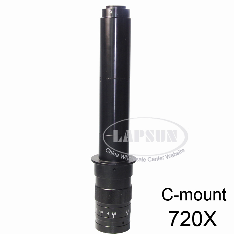 Adjustable High Quality 100X - 500X - 720X Zoom 25mm C-mount Glass Lens Adapter 4.5X For Industry Microscope Camera Magnifier