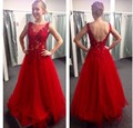 Cheap Lace Appliqued Long Elegant Prom Dresses Red Scoop Neckline 2017 Sexy Open Back Formal Party Gown Vestidos de festa longo