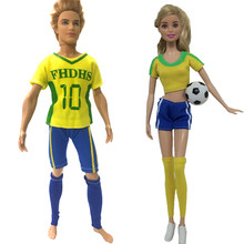 NK 2 Pcs /Set Doll Dress Sport Football Suit For Barbie Doll Accessories Best Boy Girl Couple Cosplay DIY Toy For Ken Doll 002(China)