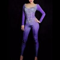 Sparkly Rhinestones Purple Jumpsuit Long sleeve bodysuit Women's Birthday Party Celebrate Outfit Nightclub Singer Wear Leggings